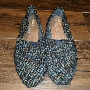 Tom's Blue Tweed Slides